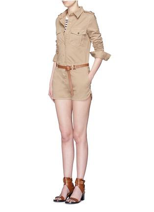 模特示范图 - 点击放大 - FRAME DENIM - 翻领棉质连体短裤