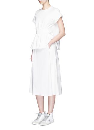 模特儿示范图 - 点击放大 - T BY ALEXANDER WANG - 修腰松紧带纯棉上衣