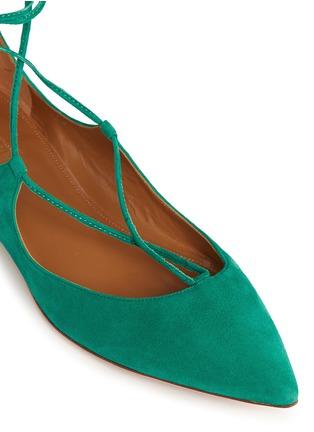 细节 - 点击放大 - AQUAZZURA - 麂皮尖头绕带平底鞋