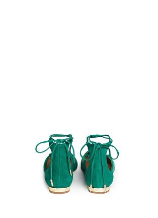 背面 - 点击放大 - AQUAZZURA - 麂皮尖头绕带平底鞋