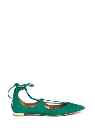 首图 - 点击放大 - AQUAZZURA - 麂皮尖头绕带平底鞋