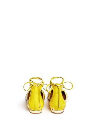 背面 - 点击放大 - AQUAZZURA - 漆皮尖头绕带平底鞋