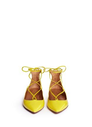 模特示范图 - 点击放大 - AQUAZZURA - 漆皮尖头绕带平底鞋