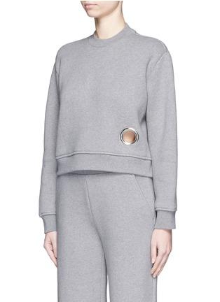 正面 -点击放大 - T BY ALEXANDER WANG - 圆形镂空混棉上衣