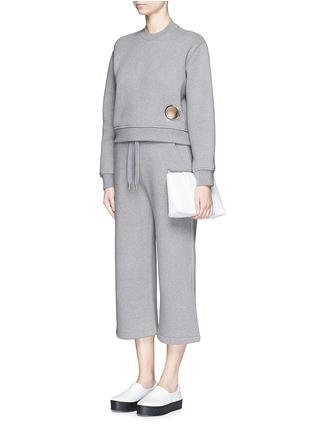 模特儿示范图 - 点击放大 - T BY ALEXANDER WANG - 圆形镂空混棉上衣