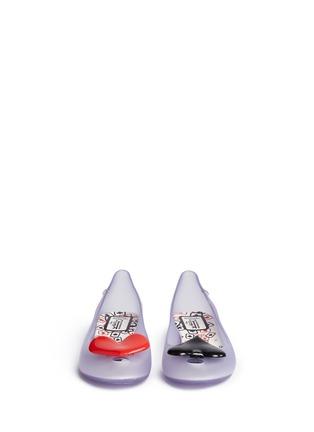 正面 -点击放大 - MELISSA - X ALICE IN WONDERLAND黑桃红心装饰PVC坡跟鞋