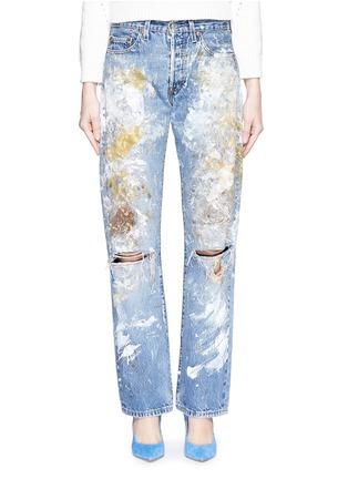 细节 - 点击放大 - RIALTO JEAN PROJECT - 手绘泼墨图案水洗磨破牛仔裤