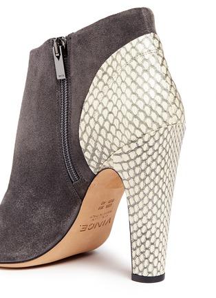 细节 - 点击放大 - Vince - 'Sierra' snakeskin suede combo peep toe ankle boots