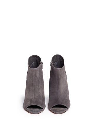 模特示范图 - 点击放大 - Vince - 'Sierra' snakeskin suede combo peep toe ankle boots
