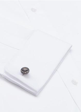 细节 - 点击放大 - Lanvin - 微凹圆形镀铑黄铜袖扣