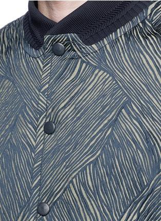 细节 - 点击放大 - CARVEN - 真皮衣袖拼接条纹提花夹克