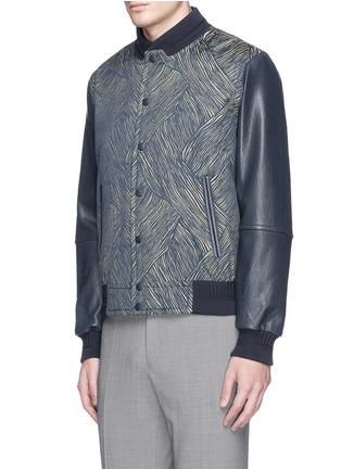 正面 -点击放大 - CARVEN - 真皮衣袖拼接条纹提花夹克