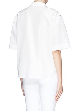 背面 - 点击放大 - CHICTOPIA - 花朵刺绣丝混棉短袖衬衫