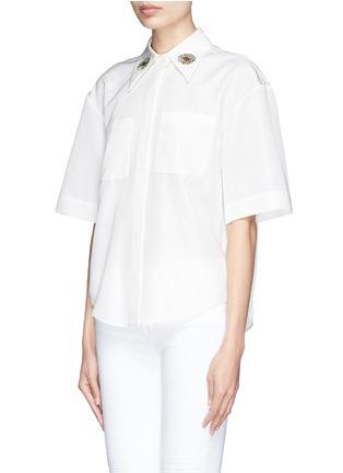 正面 - 点击放大 - CHICTOPIA - 花朵刺绣丝混棉短袖衬衫