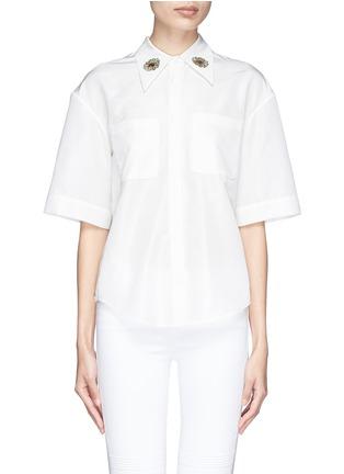 首图 - 点击放大 - CHICTOPIA - 花朵刺绣丝混棉短袖衬衫
