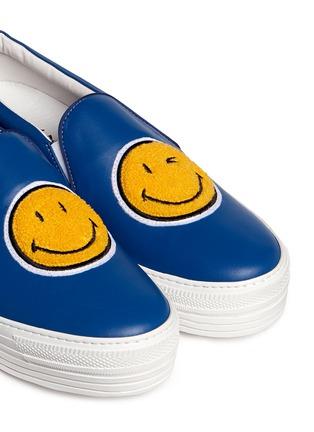 细节 - 点击放大 - JOSHUA SANDERS - 笑脸徽章真皮厚底便鞋