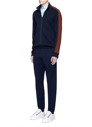 模特儿示范图 - 点击放大 - Marni - 拼色条纹混羊毛高领夹克