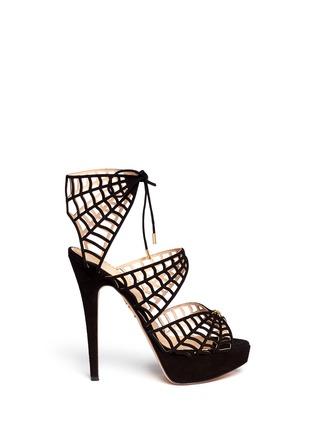 首图 - 点击放大 - CHARLOTTE OLYMPIA - CAUGHT IN CHARLOTTE'S WEB蜘蛛网麂皮高跟鞋
