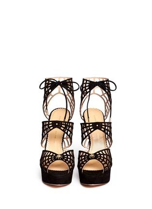 模特示范图 - 点击放大 - CHARLOTTE OLYMPIA - CAUGHT IN CHARLOTTE'S WEB蜘蛛网麂皮高跟鞋