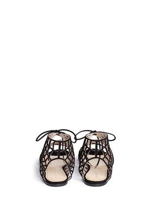 背面 - 点击放大 - CHARLOTTE OLYMPIA - 蜘蛛网麂皮平底凉鞋