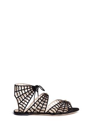 首图 - 点击放大 - CHARLOTTE OLYMPIA - 蜘蛛网麂皮平底凉鞋