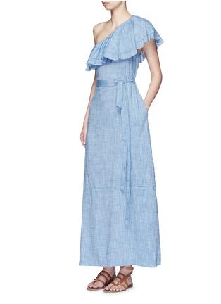 模特示范图 - 点击放大 - LISA MARIE FERNANDEZ - ARDEN单肩荷叶边纯棉连衣裙