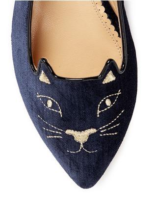 细节 - 点击放大 - CHARLOTTE OLYMPIA - Mid-Century Kitty猫脸刺绣尖头平底鞋