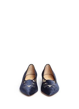 正面 -点击放大 - CHARLOTTE OLYMPIA - Mid-Century Kitty猫脸刺绣尖头平底鞋