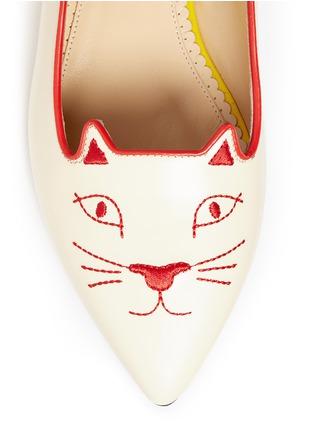 细节 - 点击放大 - CHARLOTTE OLYMPIA - Mid-Century Kitty猫脸刺绣牛皮平底鞋