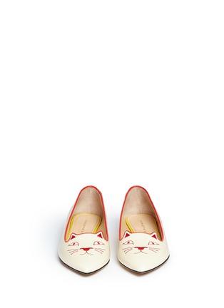 正面 - 点击放大 - CHARLOTTE OLYMPIA - Mid-Century Kitty猫脸刺绣牛皮平底鞋
