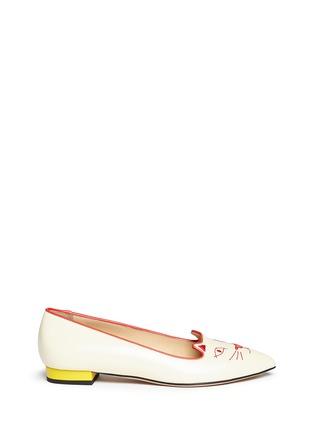 首图 - 点击放大 - CHARLOTTE OLYMPIA - Mid-Century Kitty猫脸刺绣牛皮平底鞋