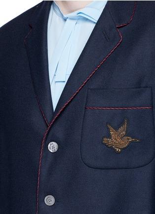 细节 - 点击放大 - GUCCI - 小鸟徽章羊绒西服外套