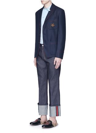 模特儿示范图 - 点击放大 - GUCCI - 小鸟徽章羊绒西服外套