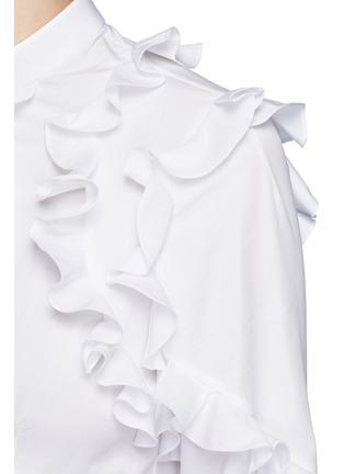 细节 - 点击放大 - ALEXANDER MCQUEEN - 纯棉府绸荷叶边衬衫