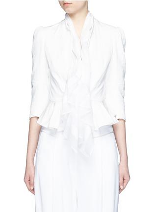 首图 - 点击放大 - Alexander McQueen - 雪纺拼接褶裥提花夹克