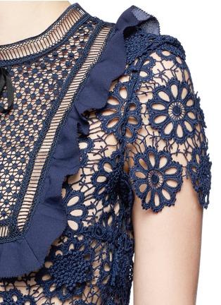 细节 - 点击放大 - SELF-PORTRAIT - 镂空编织立体花卉蕾丝拼接连衣裙