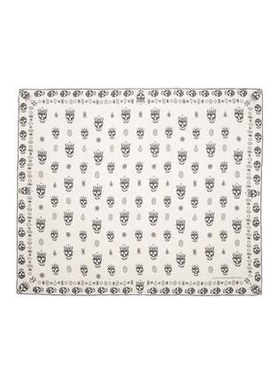 首图 - 点击放大 - ALEXANDER MCQUEEN - 骷髅头及钻石图案雪纺真丝围巾