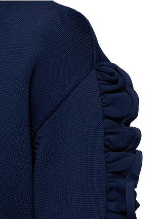 细节 - 点击放大 - VICTORIA, VICTORIA BECKHAM - 荷叶边装饰单色针织衫