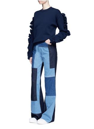 模特示范图 - 点击放大 - VICTORIA, VICTORIA BECKHAM - 荷叶边装饰单色针织衫