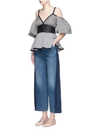 模特示范图 - 点击放大 - RACHEL COMEY - 拼色喇叭阔腿牛仔裤