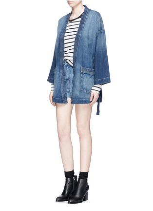 模特儿示范图 - 点击放大 - Current/Elliott - The Kimono水洗磨破和服式牛仔外套
