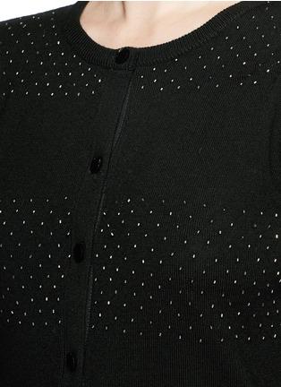 细节 - 点击放大 - ALICE + OLIVIA - 珠饰条纹羊毛针织外套