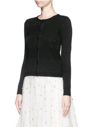 正面 - 点击放大 - ALICE + OLIVIA - 珠饰条纹羊毛针织外套