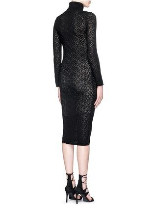 背面 - 点击放大 - alice + olivia - 镂空菱格纹针织高领连衣裙