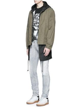 模特儿示范图 - 点击放大 - DSQUARED2 - Slim水洗磨破修身牛仔裤