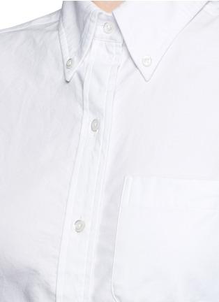 细节 - 点击放大 - THOM BROWNE - 罗缎拼接纯棉衬衫
