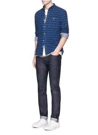 模特儿示范图 - 点击放大 - DENHAM - 立领格纹纯棉衬衫