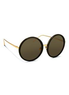 Linda Farrow oversize板材金属圆框太阳眼镜