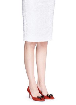 模特示范图 - 点击放大 - RENÉ CAOVILLA - X BLITZ仿水晶结饰绒面皮细高跟鞋