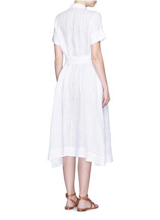 背面 - 点击放大 - LISA MARIE FERNANDEZ - 竖纹棉混亚麻衬衫款连衣裙